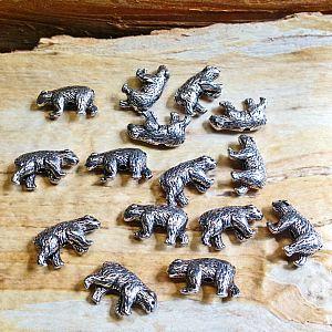 2 Metallspacer 3D Bärenperlen silber antik 16 mm