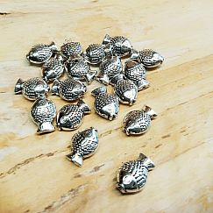 Perlen mit 10 Metallperlen Fisch Spacer antik silber massiv 12 x 8 mm