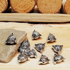 10 Metallspacer Perlen Fuchs silber antik 13  x 11 mm