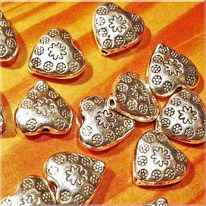 10 Metallperlen Metallspacer Herzen antik silber 11 x 3,5 mm