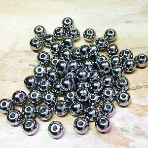 10 Edelstahlperlen Metallspacer 8 mm Kugel dunkel silber