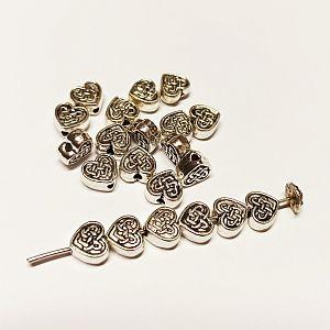 10 Metallspacer Herzperlen 7 mm silber antik