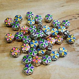 Set mit 3 Metallperlen Metallspacer Blume Emaille  x 5 mm (noch 13 mal)
