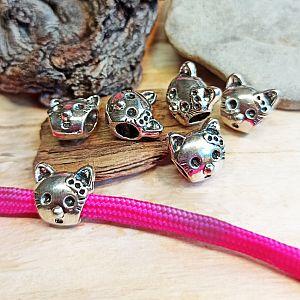 Set 8 Metallperlen Grosslochperlen Katze silber antik 12 mm