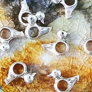 Set 10 Metallperlen Grosslochperlen Vogel silber 15 mm