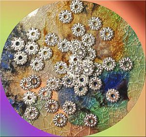 20 Perlen Metallspacer silber 9 mm