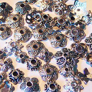 Set mit 50 versch. Metall Perlenkappen 6 - 10 mm