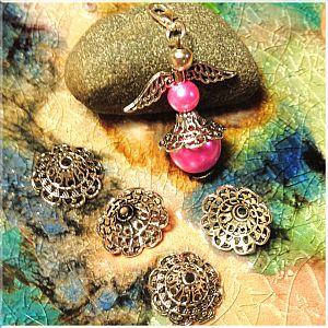 10 XL Metall Perlenkappen 18 x 7 mm für Engelanhänger