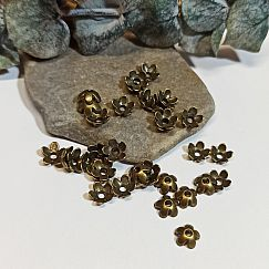 20 Metallperlkappen 6,5 mm bronze antik Blume
