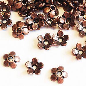 20 kleine Perlkappen für Schmuckperlen kupfer antik 6 mm