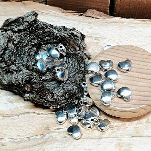 20 Metallperlen Spacer Herzperlen antik silber 8 mm