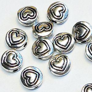 20 Metallperlen Spacer Herzperlen antik silber 6 mm