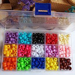 Box Grosslochperlen 375 Kindermodule 9 mm Loch 4 mm bunter Mix