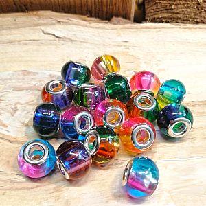 10 Glas Grosslochperlen für Modulketten Rainbow