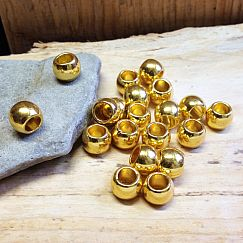 10 Metall Modulperlen Großlochperlen goldfarben 7 mm Loch 4 mm