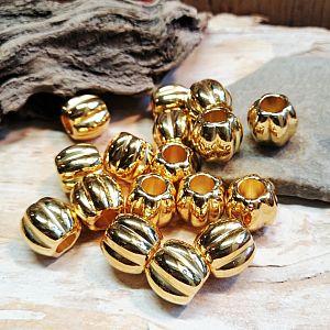 10 Modulperlen Großlochperlen goldfarben CCb 11,5 x 10 mm Loch 5 mm