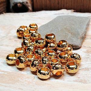 20 Großlochperlen gold 9 mm Loch 4 mm