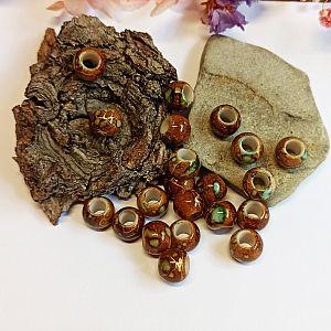 20 Großlochperlen braun marmor 10 mm Loch 5 mm