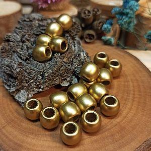 20 Modulperlen acryl Großlochperlen gold matt 9 mm Loch 5 mm