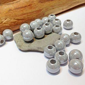 20 Modulperlen acryl Großlochperlen grau 11,5 mm Loch 5 mm