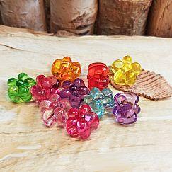 10 bunte einfache Kinder Modulperlen Grosslochperlen Blume 16 mm Loch 5 mm