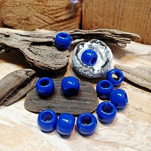 10 blaue einfache Kinder Modulperlen Grosslochperlen Loch 5 mm