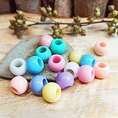 20 einfache Kinder Modulperlen Pastellfarben Grosslochperlen Loch 4,5 mm