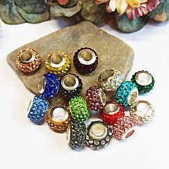 10 Modulperlen mit Strass Grosslochperlen bunter Mix Loch 5 mm