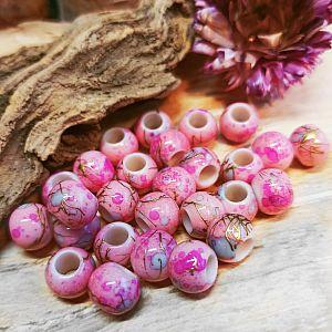 20 Großlochperlen rosa draw bench 10 mm Loch 4,5 mm