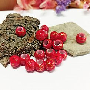 20 Großlochperlen rot draw bench 10 mm Loch 5 mm