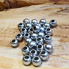 20 Modulperlen acryl Großlochperlen silber matt 10 mm Loch 4 mm