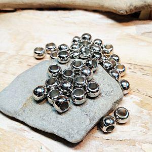 20 Modulperlen Acryl Großlochperlen silber glänzend 10 mm Loch 5 mm