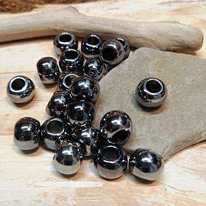 20 Modulperlen Acryl Großlochperlen silber dunkel glänzend 10 mm Loch 5 mm