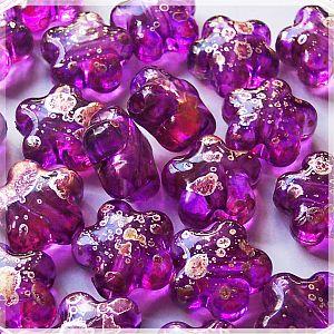 10 schöne fancy Kinderperlen Blume lila gold 16 mm