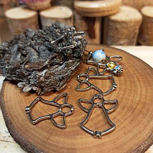 2 Metall Anhänger Engel zum basteln mit Perlen 25 mm silber antik