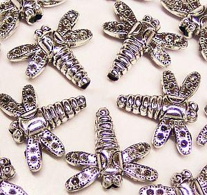 1 schöne große Spacer Perle Libelle silber 28 mm