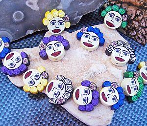 6 schöne große Polymer Kinder-Perlen 26 mm face Loch 1,2 mm