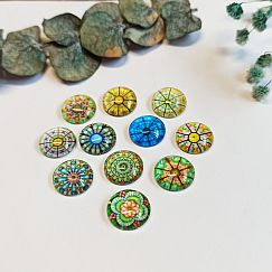 10 Glascarbochons im Mix mit Mandalamuster grüntönig 12 mm