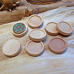 2 Carbochonfassungen aus Holz Holzanhänger 25 mm