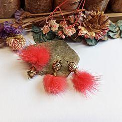 2 Naturfeder Anhänger Ohranhänger Bohostil 6 - 7 cm rosa