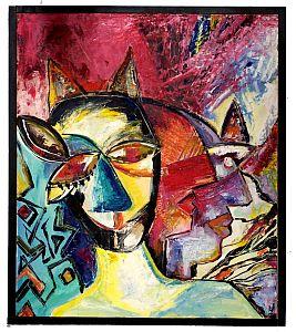 Ölmalerei abstrakte Köpfe