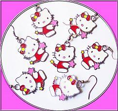 Set mit 2 Ohrhaken Katze 18 mm silber