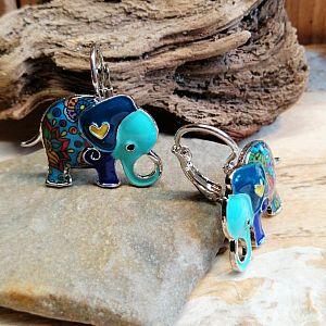 1 Set Ohrringe mit Anhänger Elefant silber Emaille
