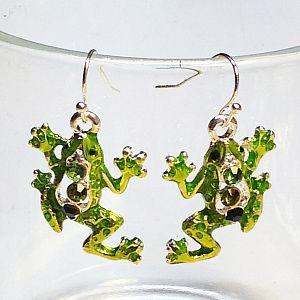 1 Set Ohrringe mit Anhänger Frosch silber Emaille