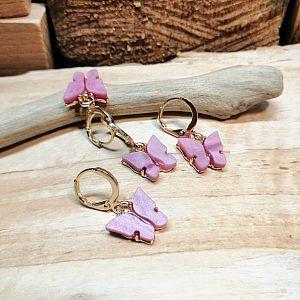 1 Paar Ohranhänger Metall vergoldet rosa 21 mm