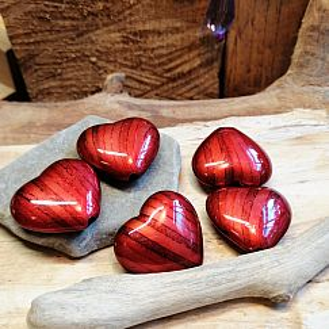 5 große Acrylperlen Herzen in dunkelrot 25 mm Loch 1,5 mm