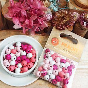 75 Holzperlen 8 mm Kugeln pink rosa weiss