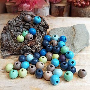 40 Hinoki Holzperlen blaugrüntönig Mix 8 mm Loch 2 mm