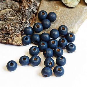 40 Hinoki Holzperlen in dunkelblau 7 mm Loch 2 mm