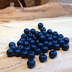 40 Hinoki Holzperlen Kugeln in dunkelblau 10 mm Loch 2 mm